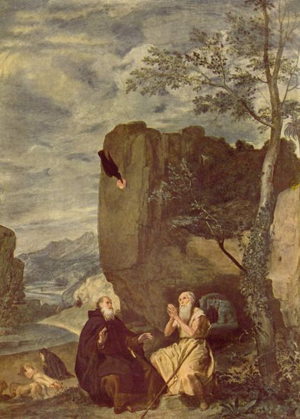Saint Anthony the Great and Saint Paul the Stylite by Diego Velazquez dans images sacrée saint-anthony-meets-saint-paul-the-stylite