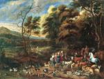 "Jan van Kessel, ""Way to Noah's ark"". Oil on canvas. 17th century. 94 x 122 cm"