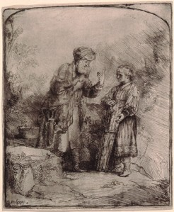 Abraham and Isaac, 1645, by Rembrandt van Rijn, etching and burin sheet (trimmed to plate mark): 16.1 x 13.3 cm (6 5/16 x 5 1/4 in.), at the National Gallery of Art, Washington, DC